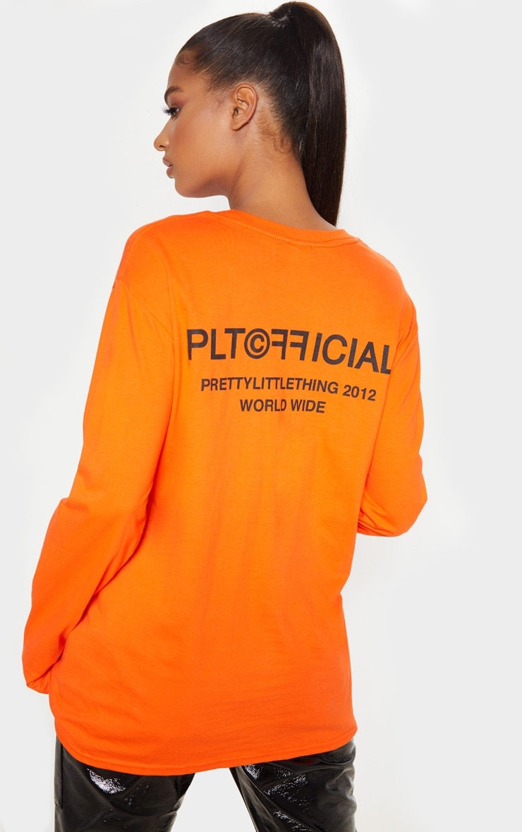 PRETTYLITTLETHING Orange Official Slogan Long Sleeve T Shirt 2