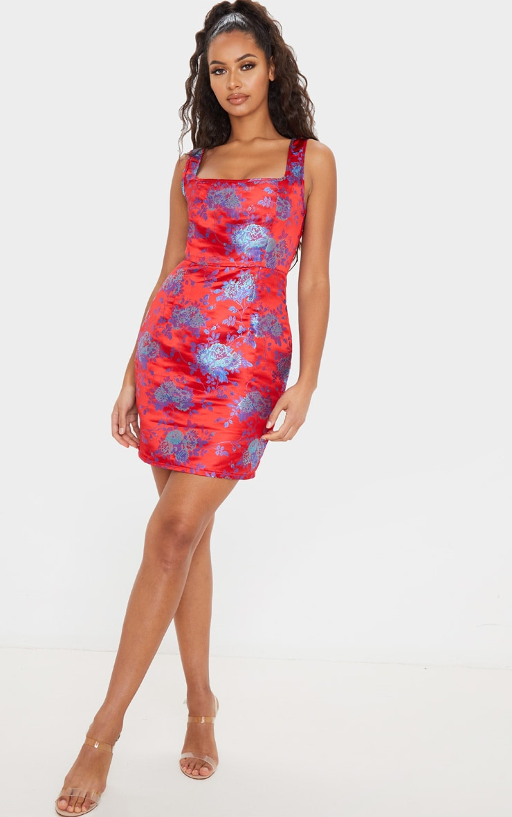 Red Square Neck Jacquard Bodycon Dress 4