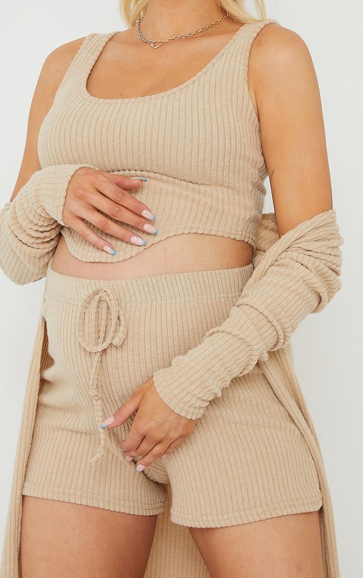 Maternity Stone Brushed Rib Tie Waist Shorts 5