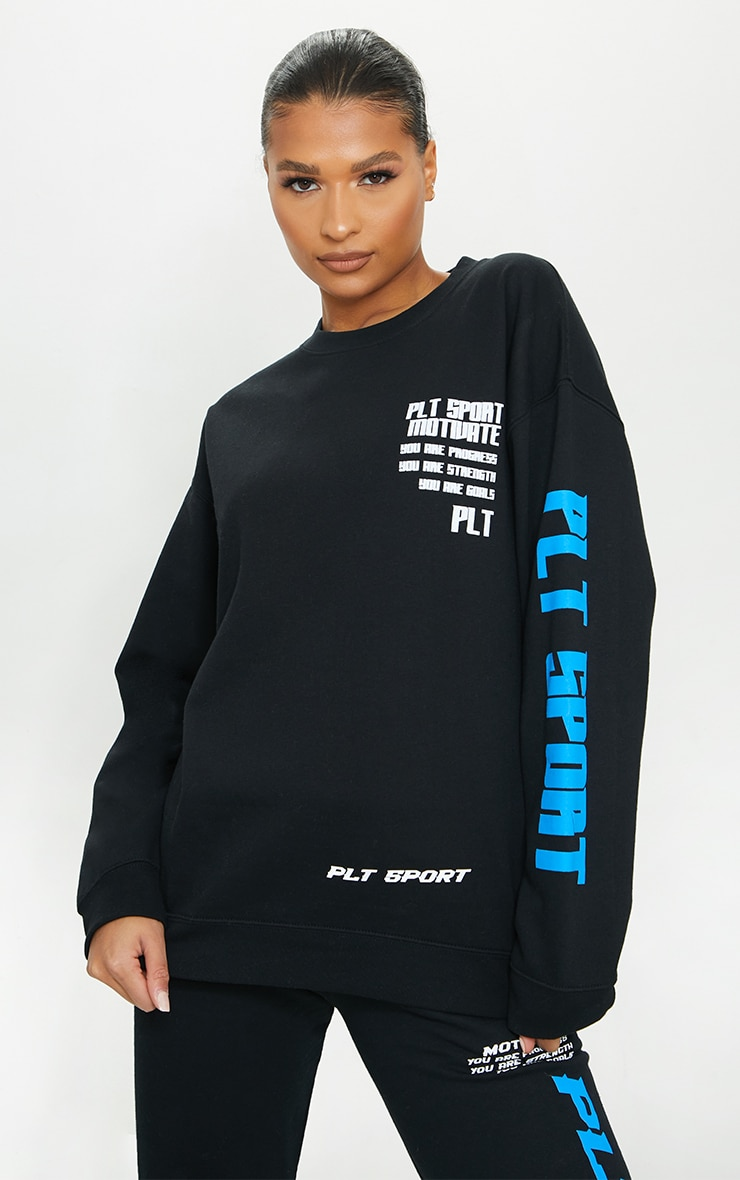 Black Sports Oversized Sweatshirt 1