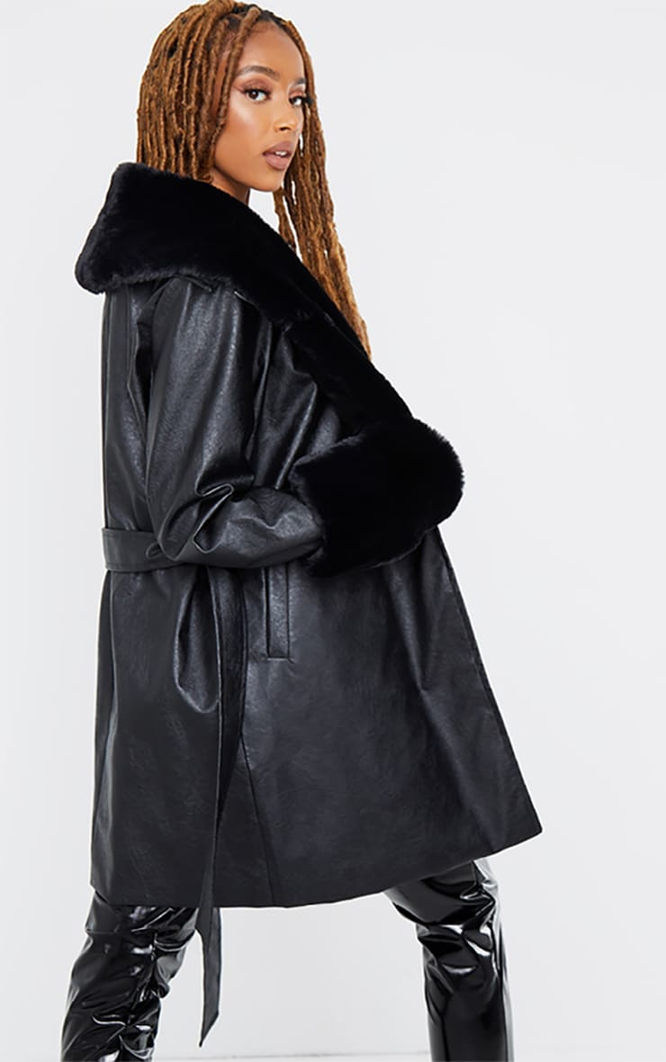 Black PU Detachable Faux Fur Mini Trench 2