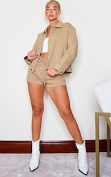 Tan Western Style Lace Up Shorts 2