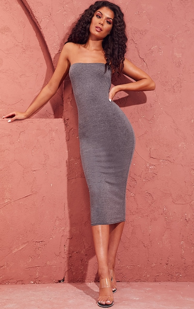 161617169c Basic Charcoal Grey Bandeau Midaxi Dress