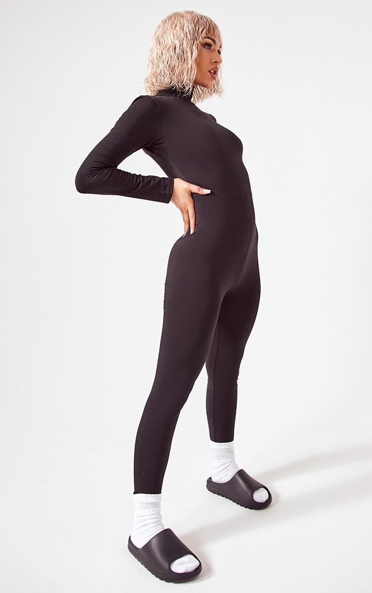 Basic Black Cotton Blend Roll Neck Long Sleeve Jumpsuit 3