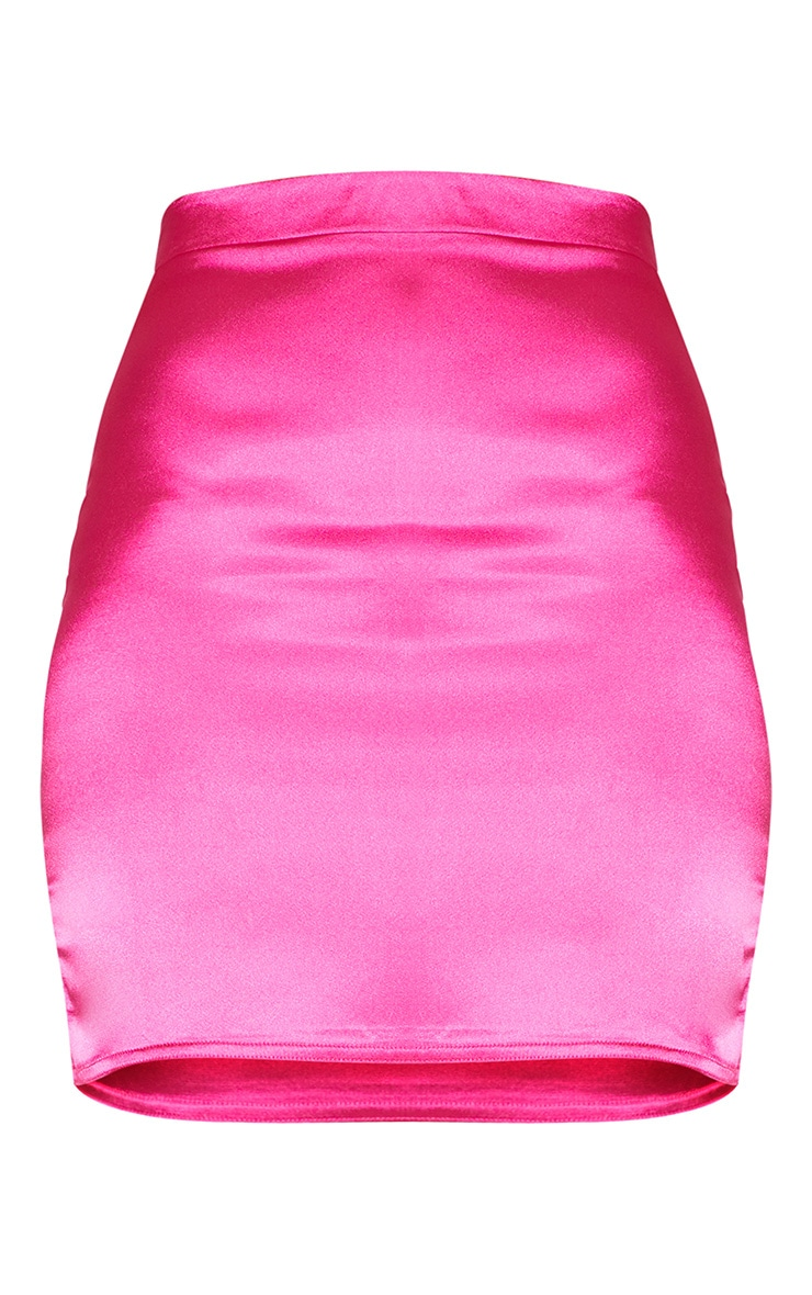 Pink Satin High Waisted Mini Skirt 3