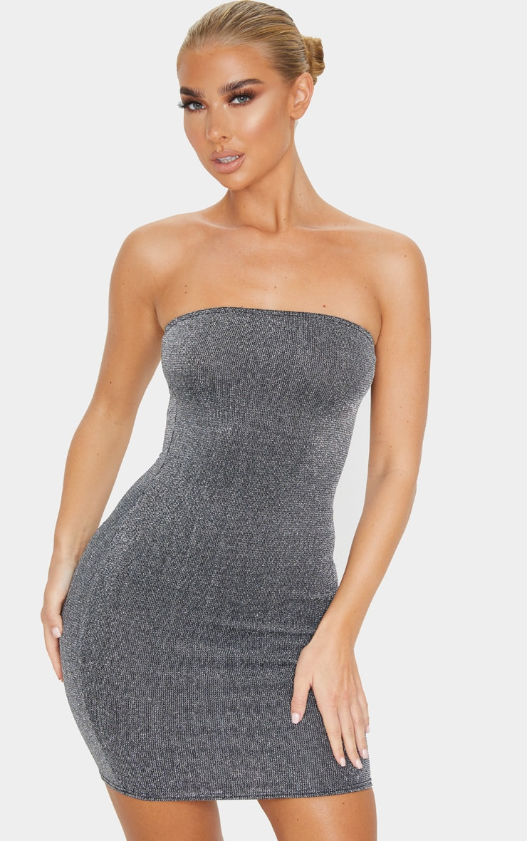 Silver Glitter Bandeau Bodycon Dress 3
