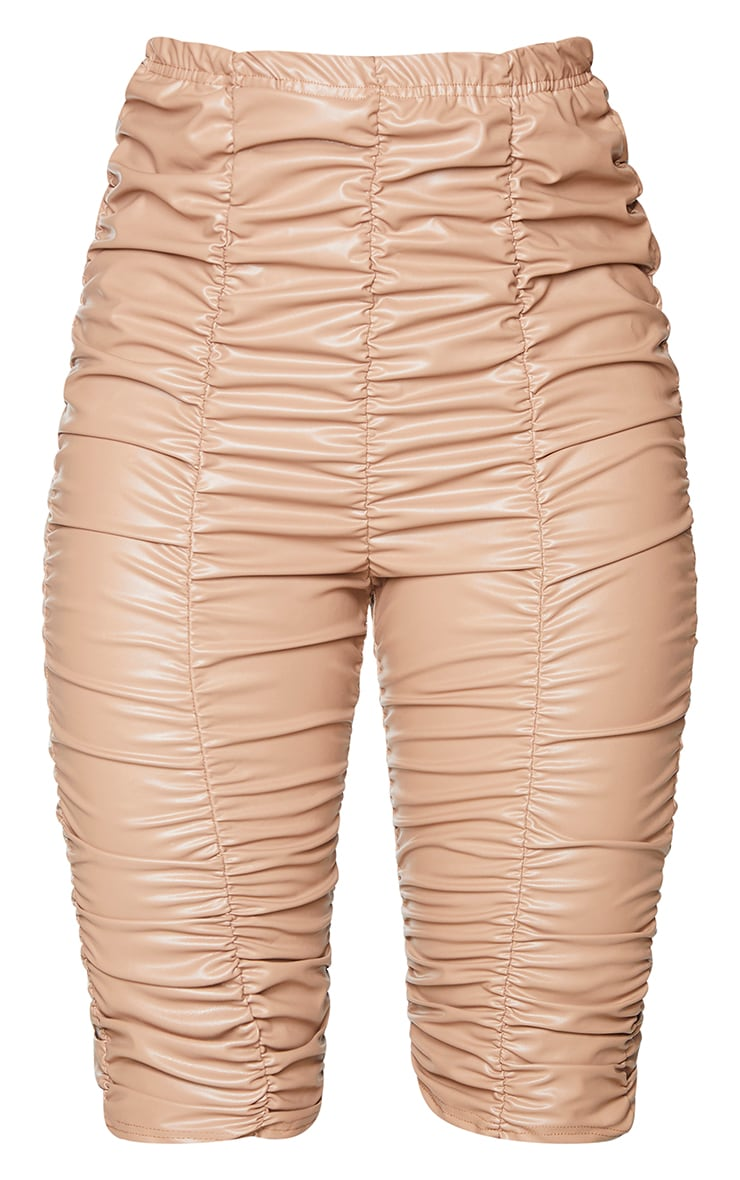 Camel Faux Leather Ruched Bike Short 6