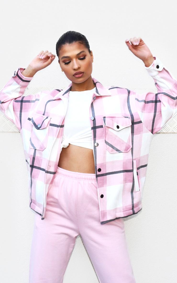 Pink Checked Pocket Front Shacket 1