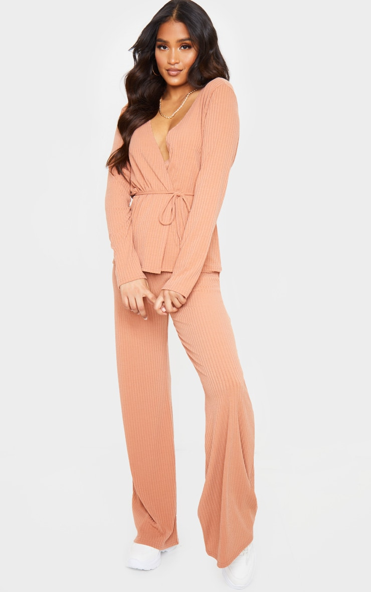 Peach Wrap Cardi And Wide Leg Knitted Lounge Set 4