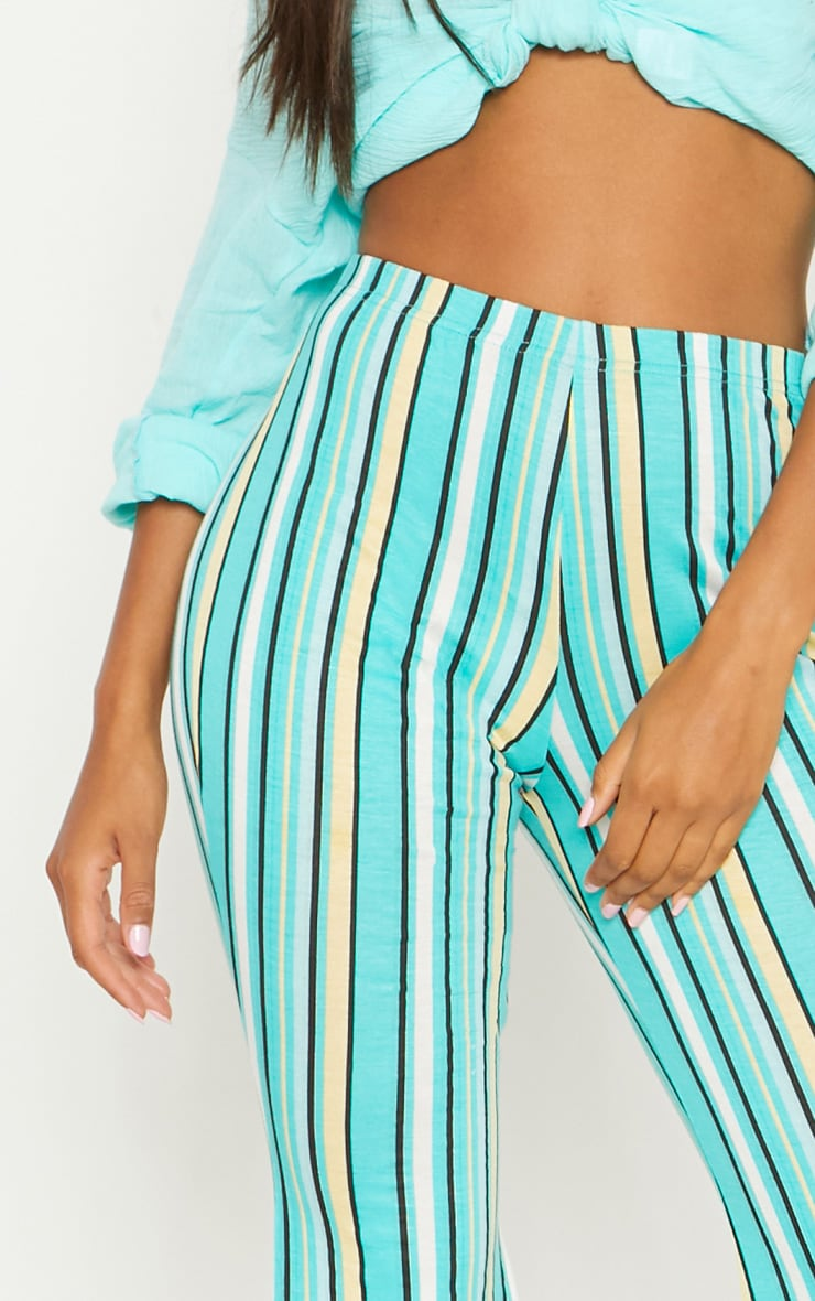 Aqua Green Jersey Stripe Jersey Flared Trouser 5