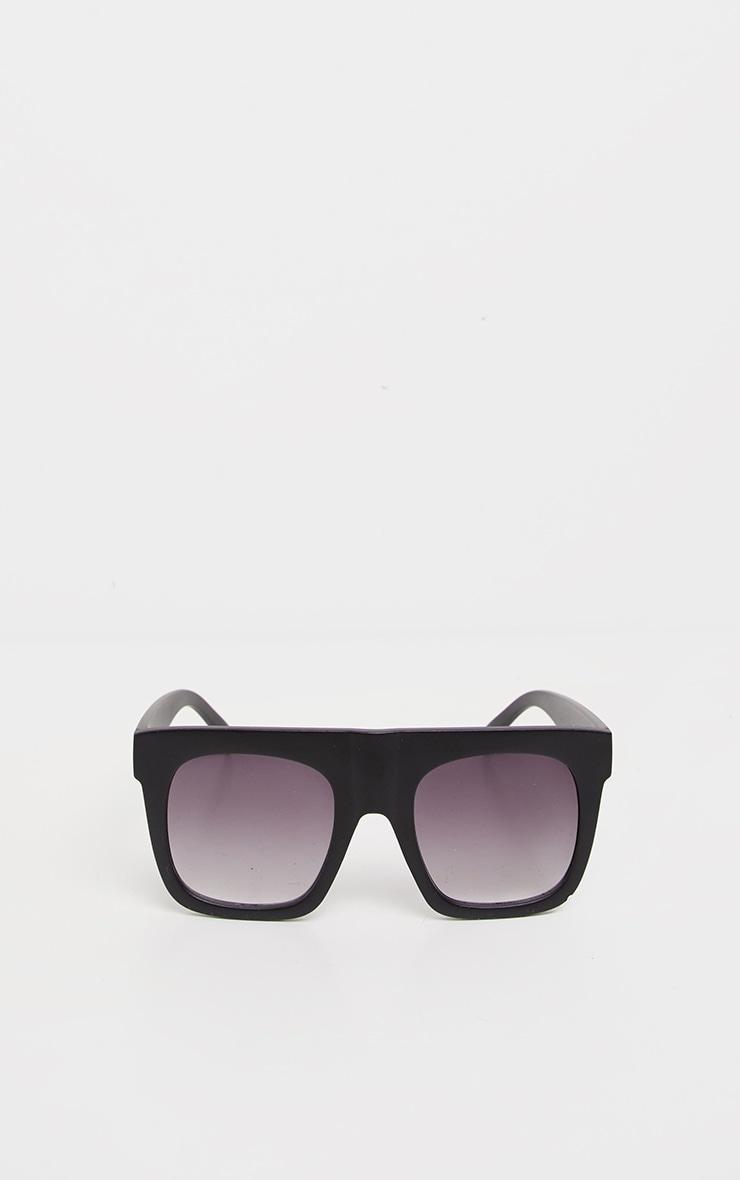 Black Matte Flat Top Faded Lens Sunglasses  2