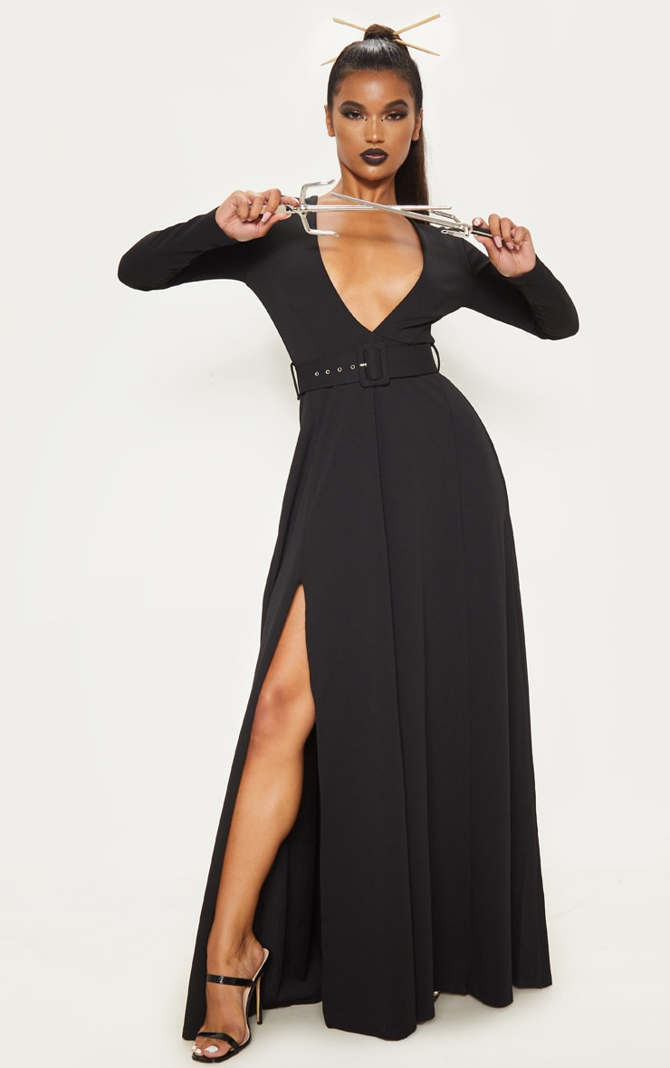 Black Long Sleeve Plunge Belted Maxi Dress 4