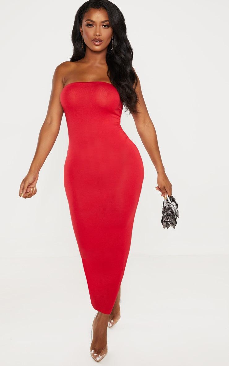 Shape Red Jersey Bandeau Maxi Dress  4