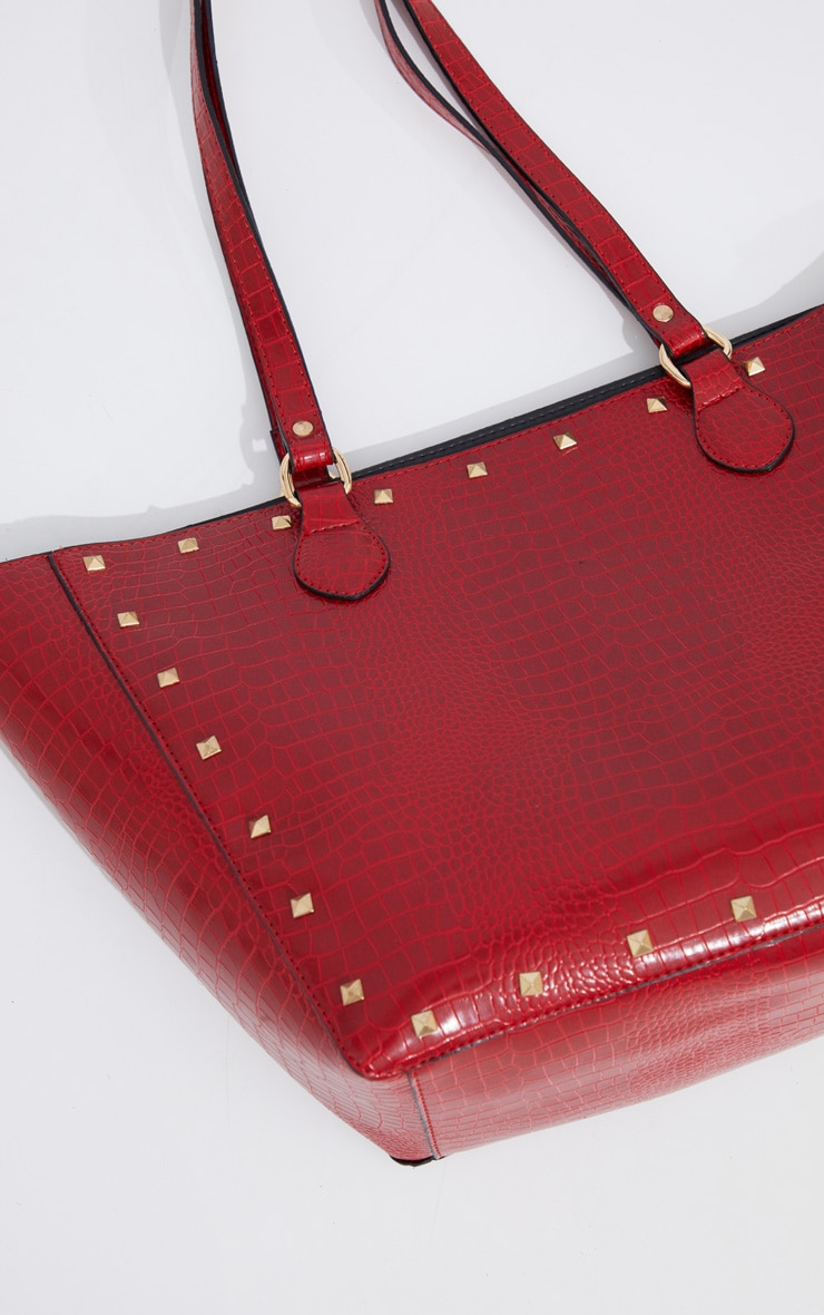 Red Croc Gold Studded Tote Bag 3