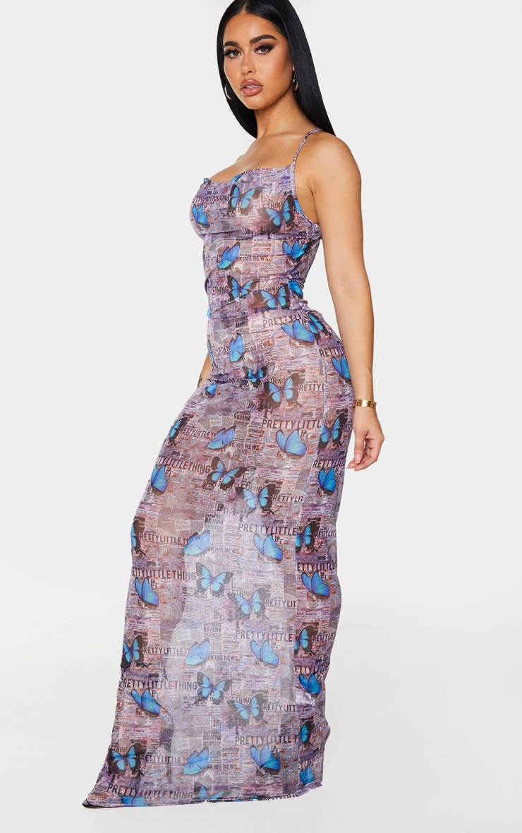Shape Purple Butterfly Mesh Sheer Cowl Maxi Dress 3