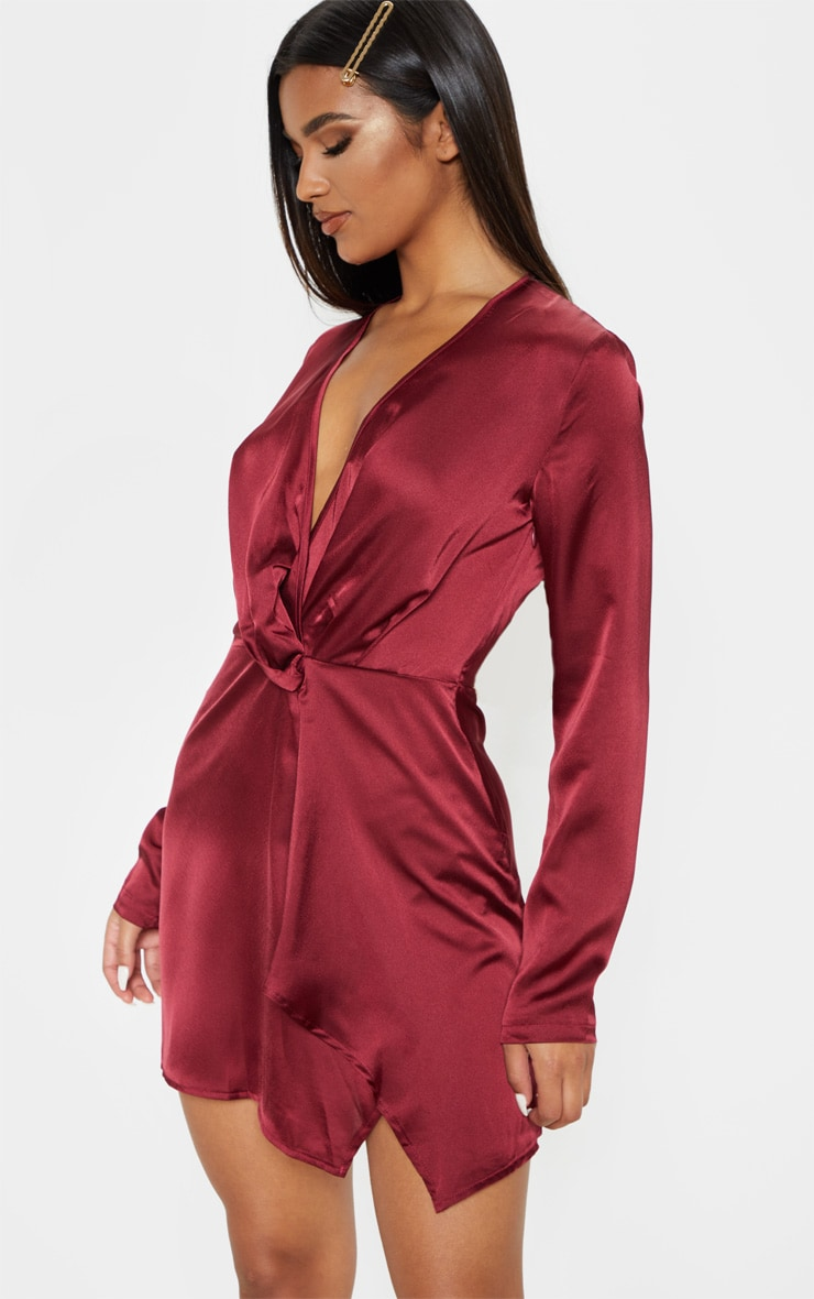 Burgundy Satin Long Sleeve Wrap Dress  5