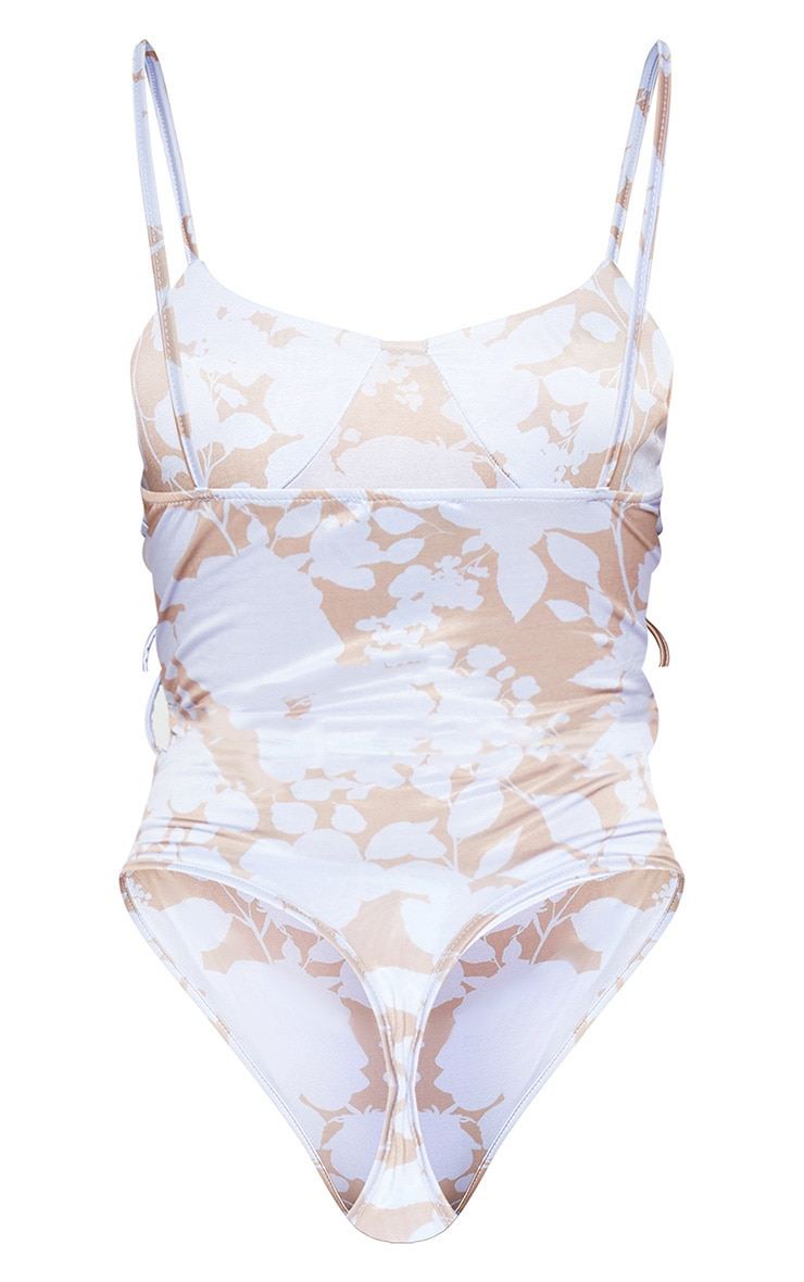 Mauve Floral Printed Cup Detail Sleeveless Bodysuit 3