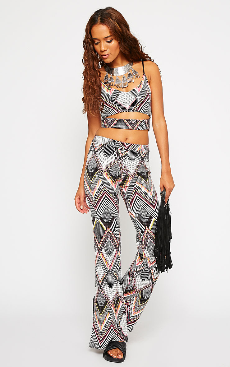 Val Aztec Print Flare Trousers 1