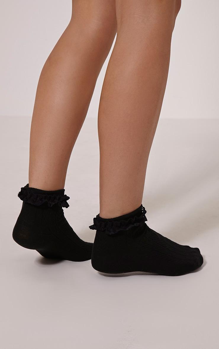 Natia Black Frill Sock 1