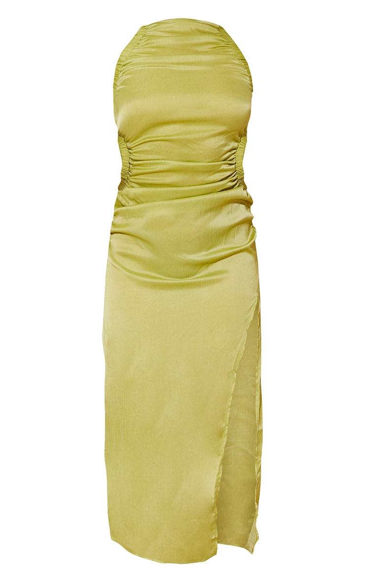 Lime Textured Racer Neck Waist Cut Out Midaxi Dress 5