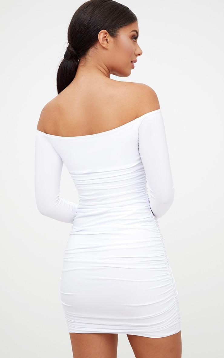 White Bardot Ruched Bodycon Dress 2