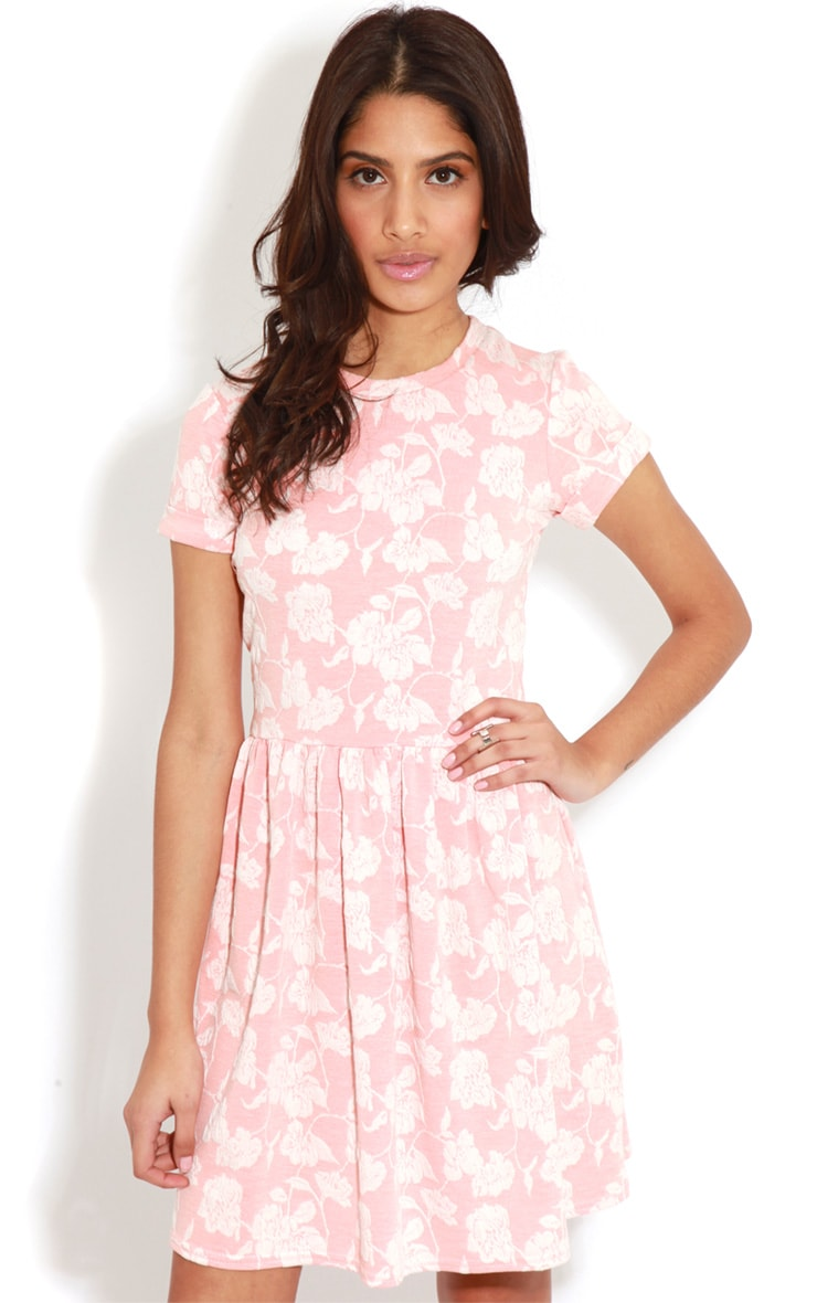 Eloise Coral Floral Dropped Hem Dress 4