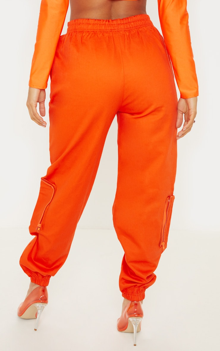 Neon Orange 3D Pocket Cargo Pants 4
