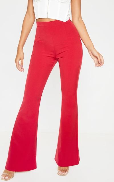 Red Woven Flare Leg Trouser
