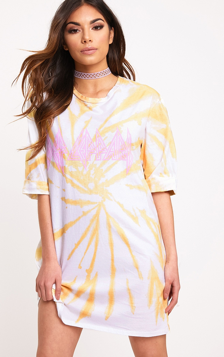 Def Lepard Orange Tie Dye T Shirt Dress  1