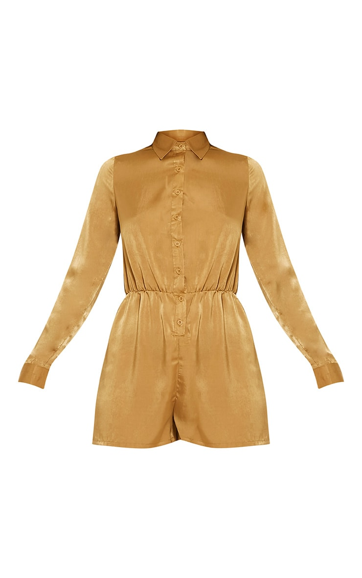 Pina Olive Silk Feel Shirt Playsuit 3