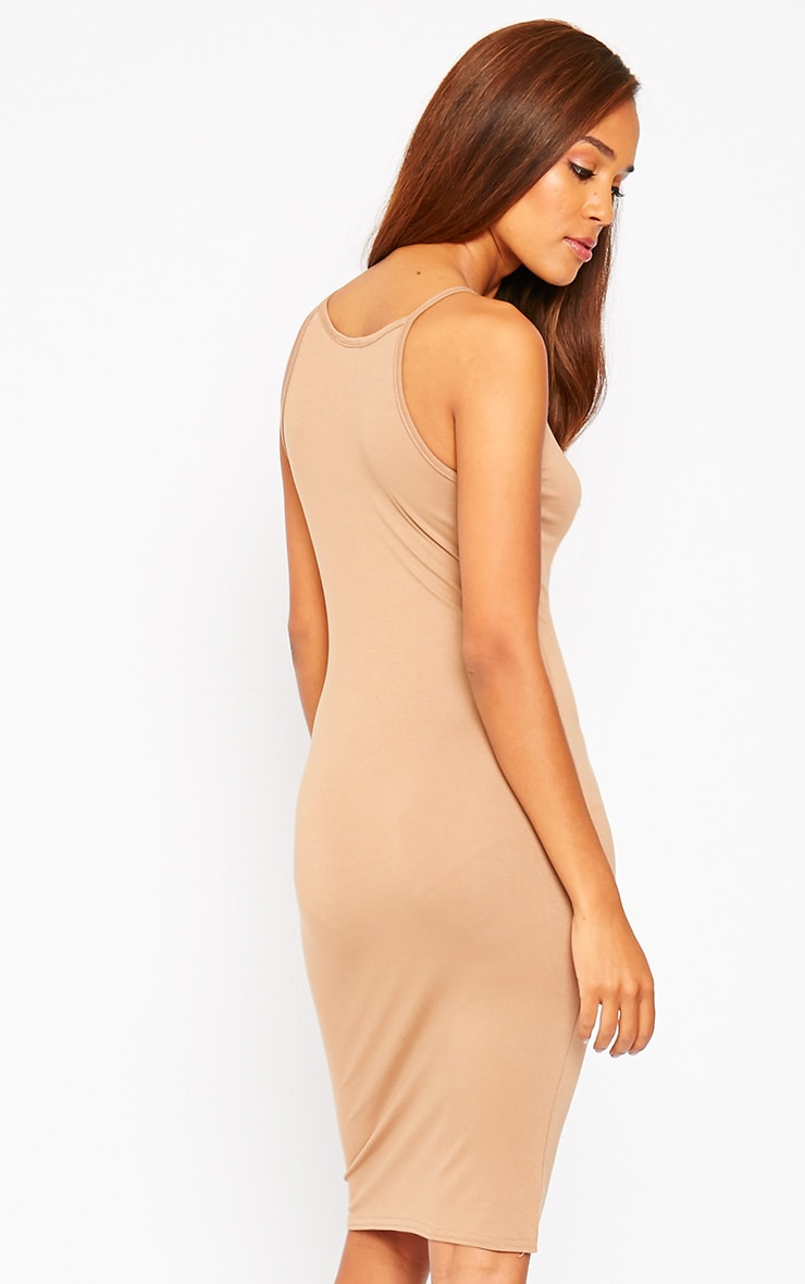 Basic Camel Jersey Racer Neck Dress 5