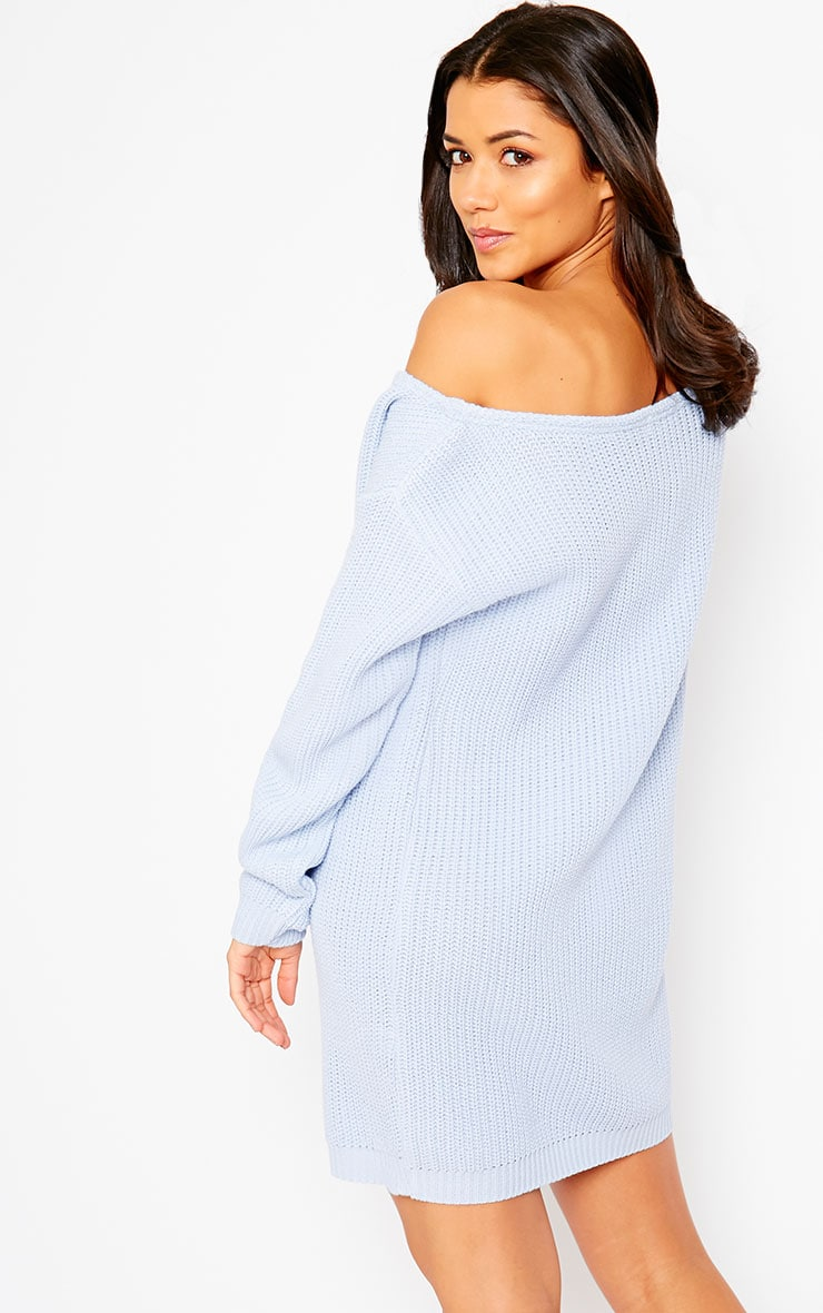 Larissa Powder Blue Off The Shoulder Knitted Dress 5