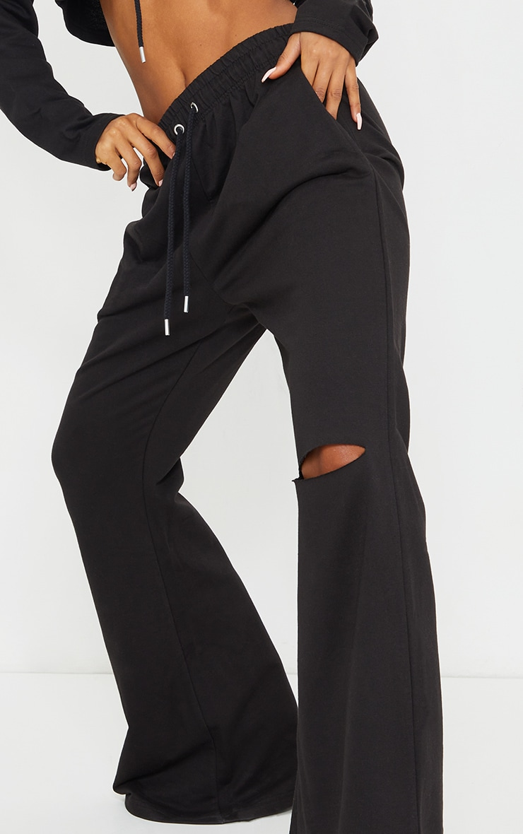 Black Split Knee Wide Leg Joggers 4