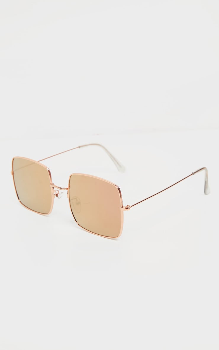 Rose Gold Tinted Lens Square Frame Sunglasses 4