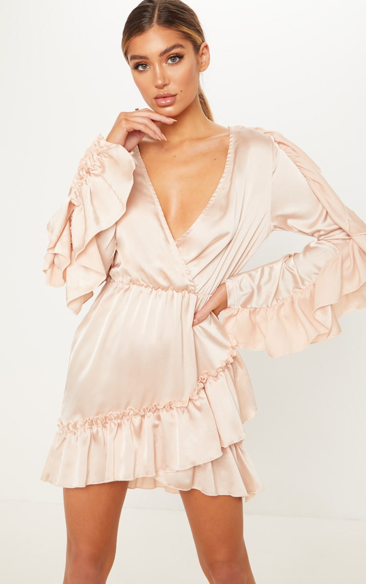 Champagne Satin Frill Shift Dress