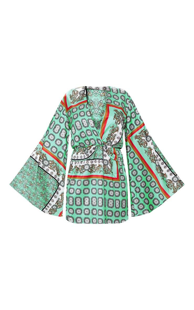 Sage Green Printed Kimono Sleeve Plunge Shift Dress  3