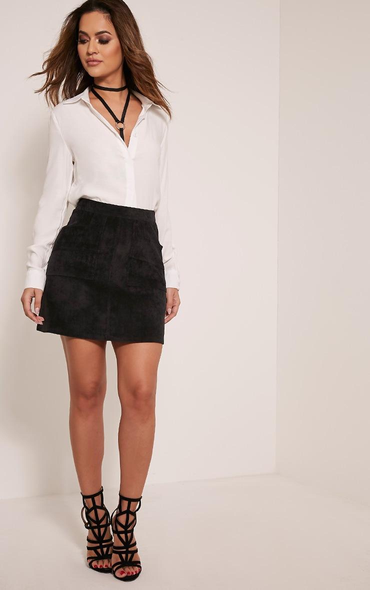 Connie Black Cord Pocket Mini Skirt 6