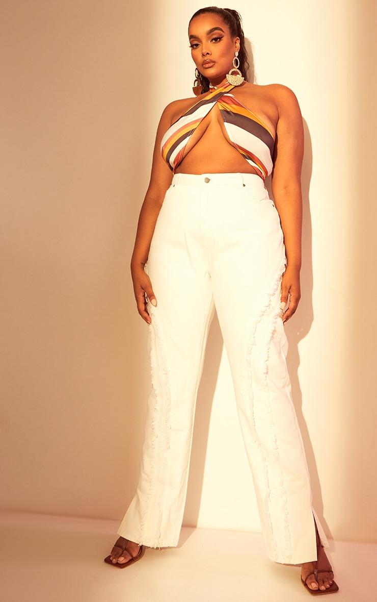 Plus White Fray Detail Split Hem Jeans 1