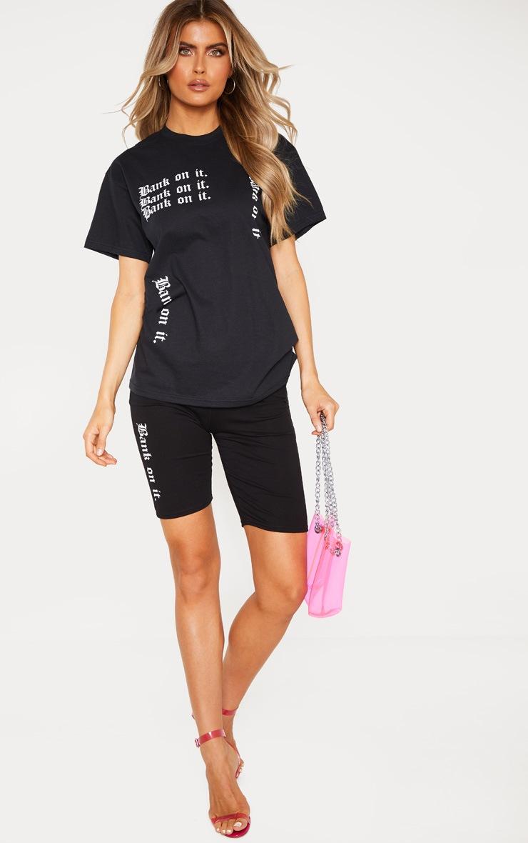 Tall Black Slogan T Shirt 5