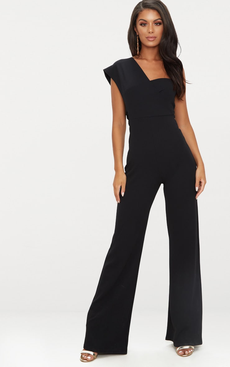 Black Drape One Shoulder Jumpsuit