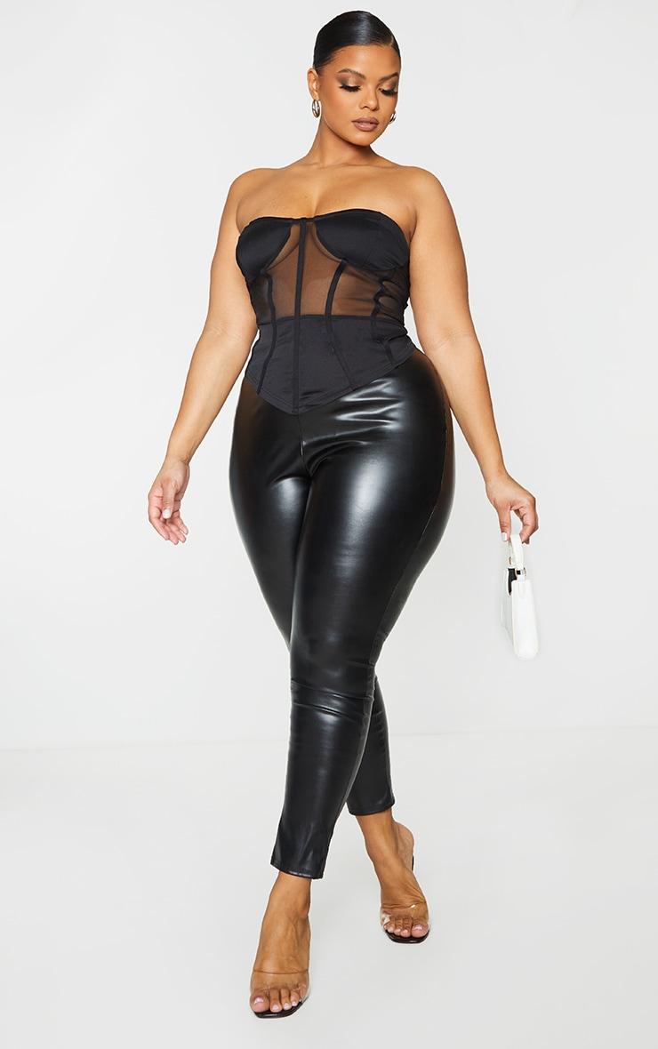 Plus Black Structured Mesh Corset 1