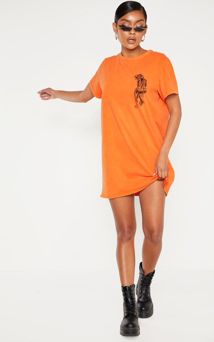 Orange Tiger Printed T Shirt Dress 4