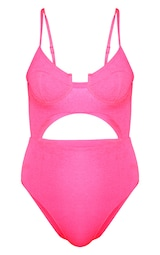 Neon Pink Mini Crinkle Underwired Cut Out Swimsuit 1