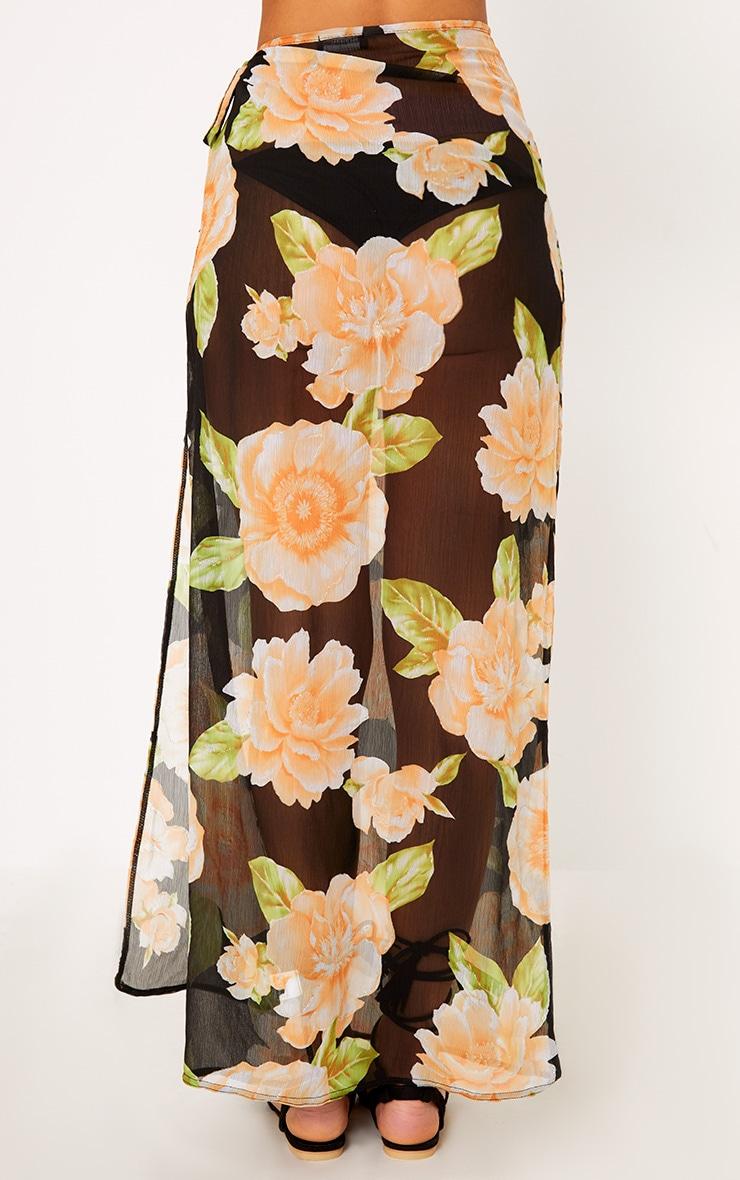 Black Floral Glitter Detail Beach Maxi Skirt 4