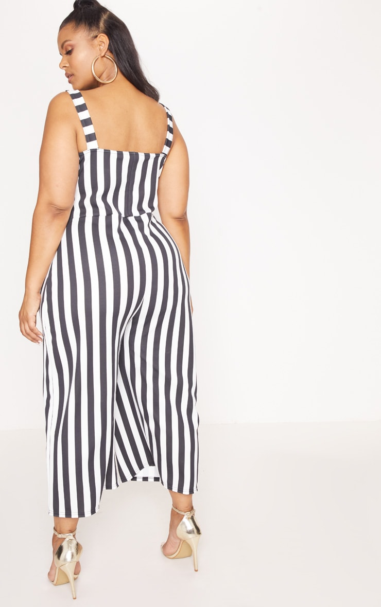 Plus Monochrome Stripe Tortoise Button Culotte Jumpsuit 2