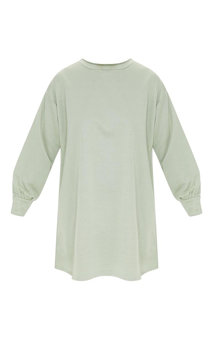 Sage Green Oversized Jumper Sweater Dress 5