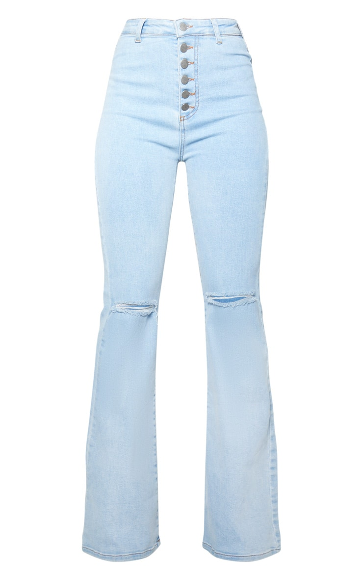 Light Wash High Waisted Stretch Rip Flare Jean  3
