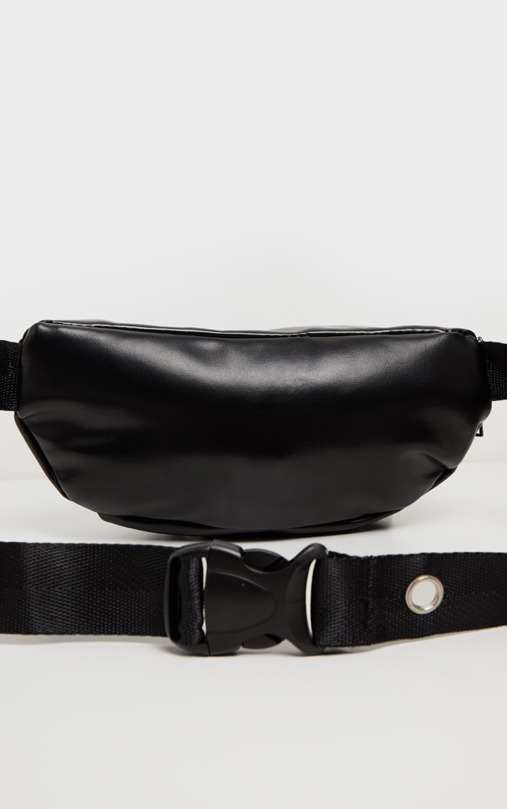 Black PU Multi Zip Seat Belt Fanny Pack 3