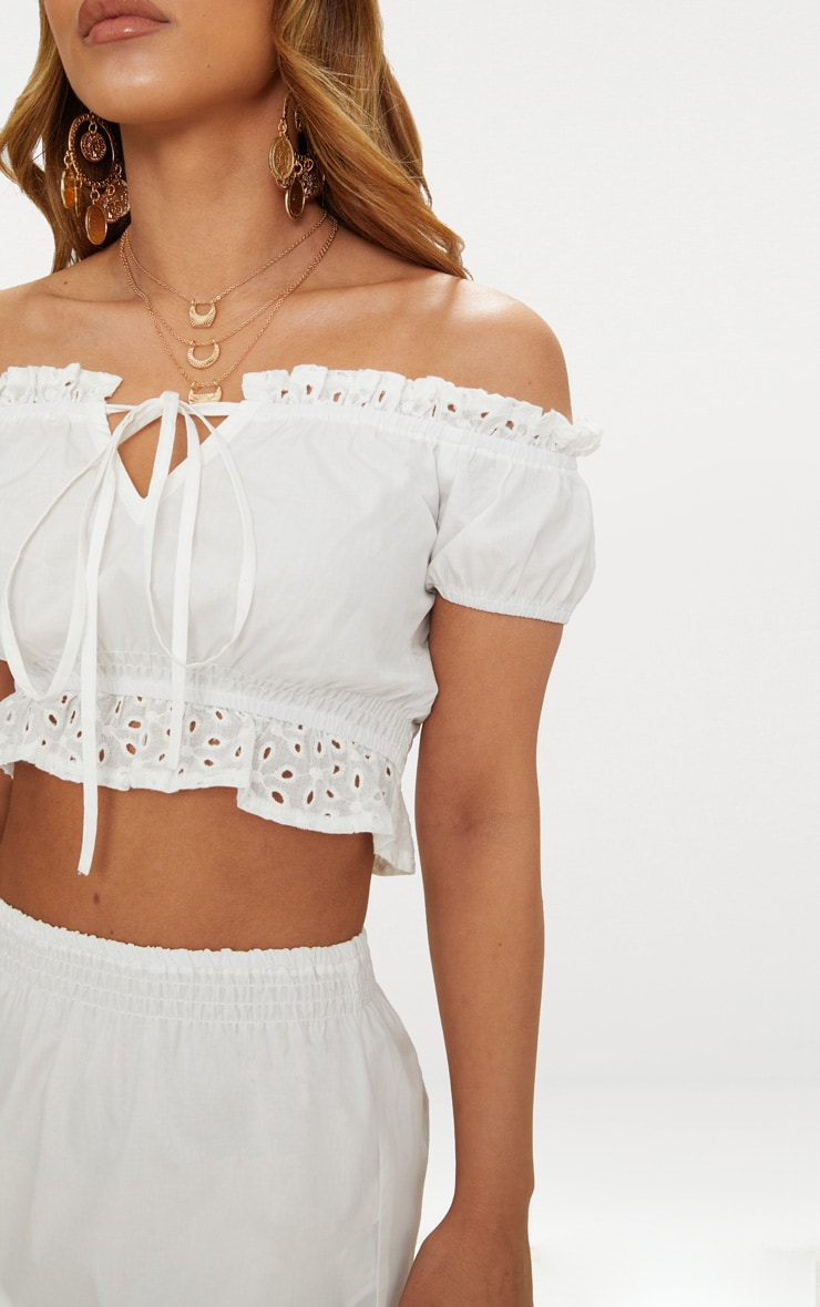 Petite White Broderie Anglaise Detail Bardot Crop Top 5