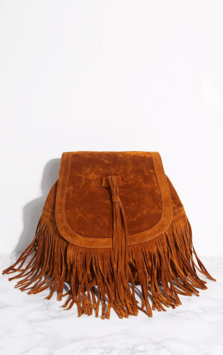 Tan Suedette Fringe Backpack 3